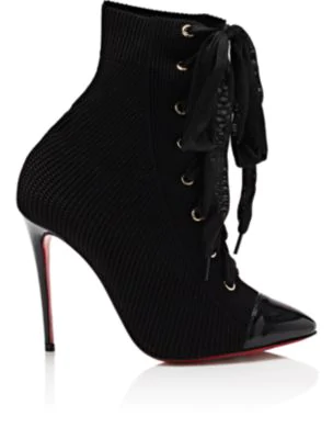 db55cb3c7c3fb Christian Louboutin Frenchie Lace-Up Red Sole Booties In Black ...