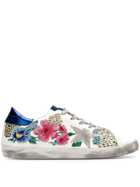 Golden Goose Superstar Floral Embellished Leather Low-Top Sneakers In White