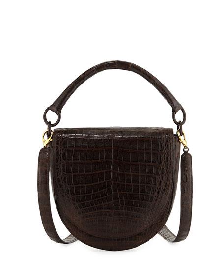0f77a782 Teddi Croc Semicircle Crossbody Saddle Bag in Dark Brown