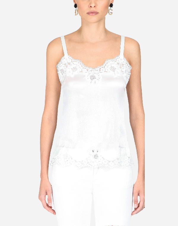 Dolce & Gabbana Satin Lingerie Top With Lace In White