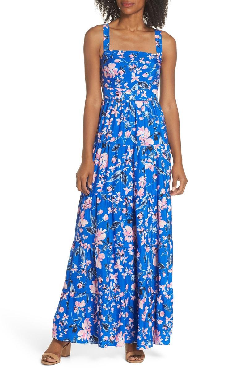 33323df4b212d Eliza J Floral Tiered Maxi Dress In Cobalt