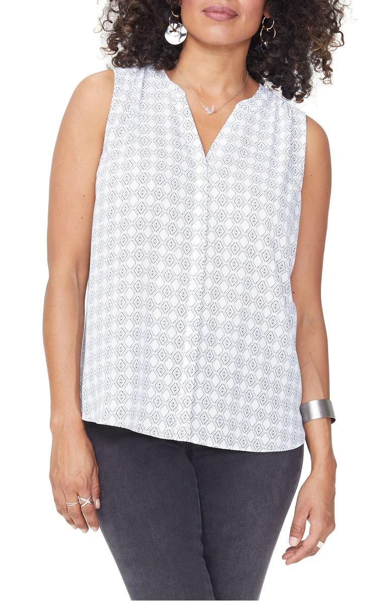78d2949e4f62cf ... the fit of a sleeveless georgette top available in a lively selection  of prints and solids. Style Name  Nydj Pleat Back Sleeveless Split Neck  Blouse ...
