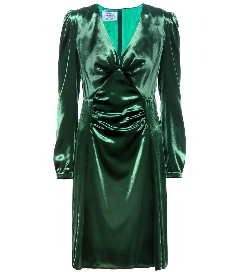 Prada Velvet Dress In Green
