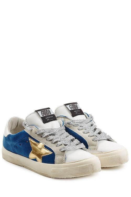 Golden Goose 'may' Metallic Star Patch Leather Velvet Sneakers In Multicolored