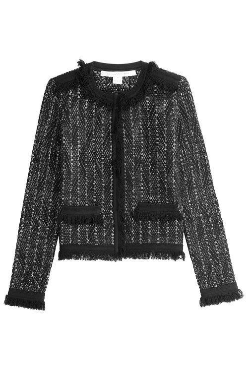 Diane Von Furstenberg Metallic Knit Jacket With Fringe Trim In Black