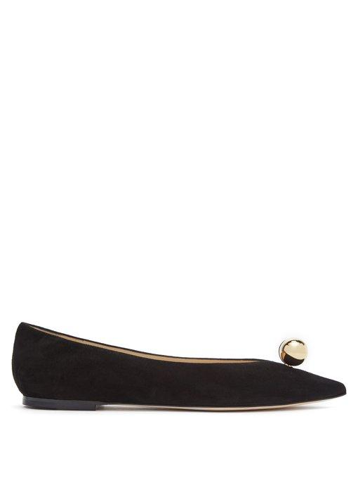 052c0090b91 Jimmy Choo Silvia Faux Pearl-Embellished Leather Flats In Black ...