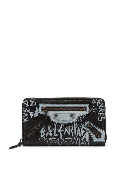 Balenciaga Classic Graffiti-Print Zip-Around Leather Wallet In Black White