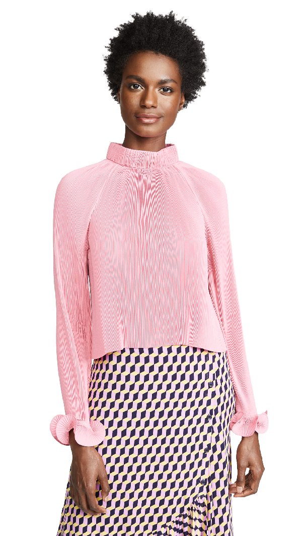 Tibi Pleated Cropped Top In Pink