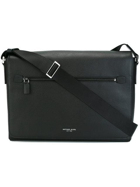 Michael Kors Harrison Large Cross-grain Leather Messenger Bag In Black