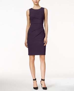 Calvin Klein Petite Starburst Sheath Dress In Aubergine