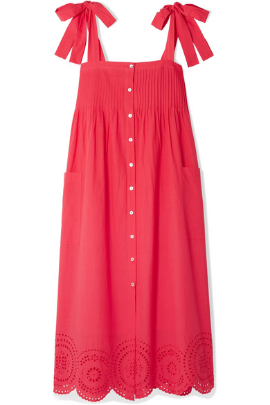 8df88aa959 Hatch Sylvie Broderie Anglaise Cotton-Voile Midi Dress In Red | ModeSens