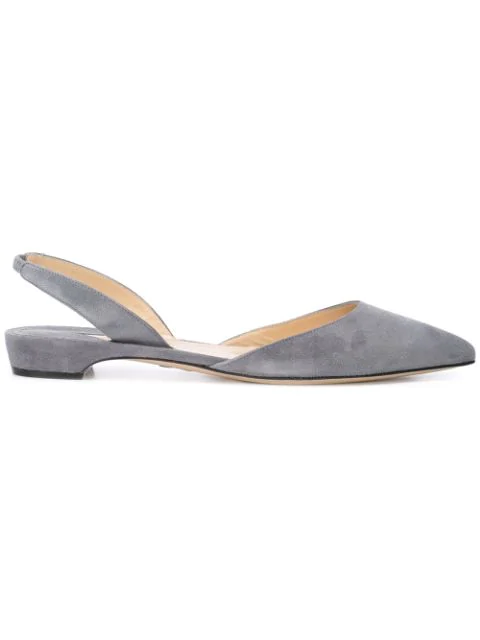 Paul Andrew Rhea Suede Point-Toe Flats In Grey