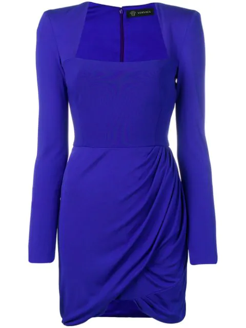 Versace Square Neck Bodycon Mini Dress In Blue