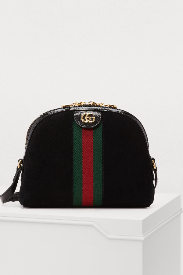 Gucci Ophidia Patent Leather-Trimmed Suede Shoulder Bag In Black
