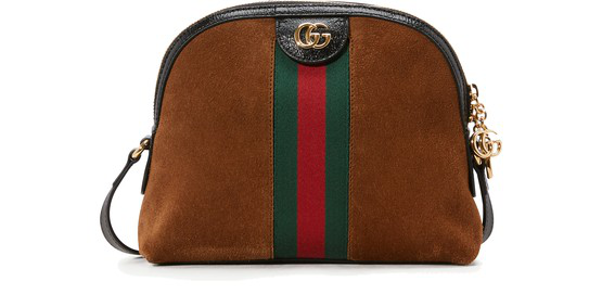 Gucci Ophidia Patent Leather-trimmed Suede Shoulder Bag In 2863 Brown