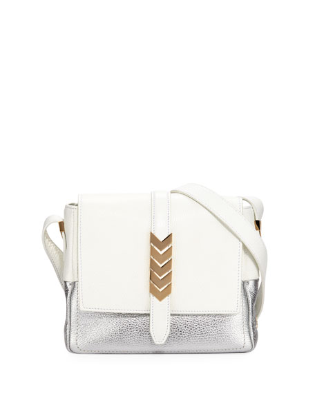 Versace Mixed Leather Shoulder Bag In White Pattern