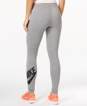 Nike Plus Size Sportswear Metallic-logo Leggings In Carbon Heather/black