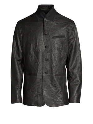 John Varvatos Crinkle Leather Blazer Jacket In Black