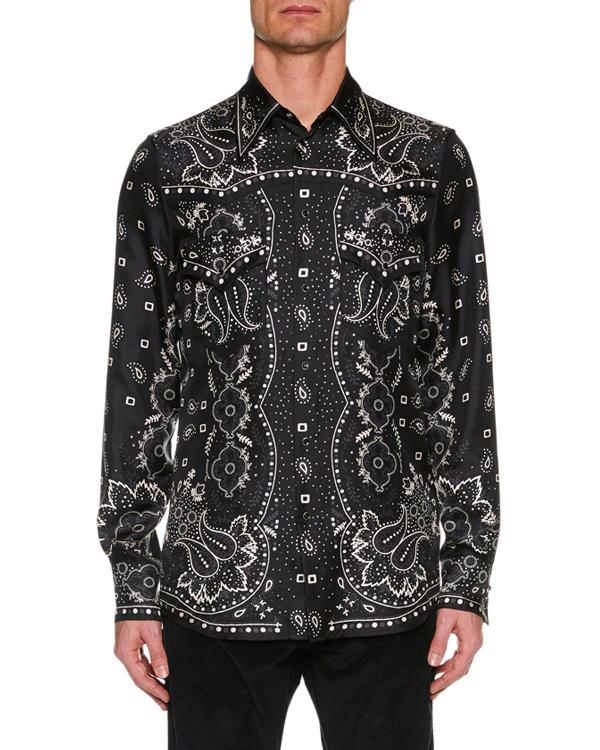 6b2523bb282 Dsquared2 Men s Paisley Silk Western Shirt In 002F Print