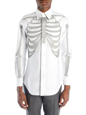 93ac4262 Thom Browne Embroidered Skeleton Button-Down Shirt In White | ModeSens