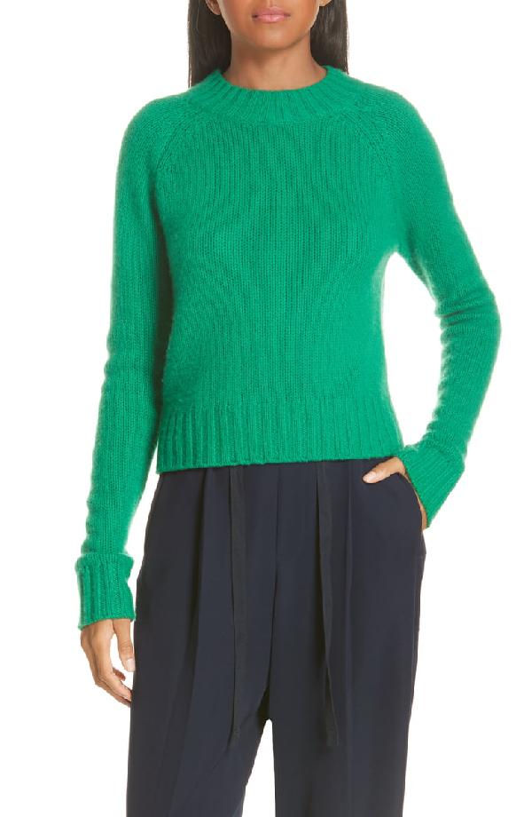 Vince Shrunken Mock-Neck Cashmere Sweater In Leaf