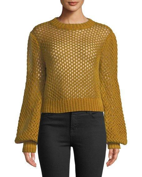 745211c2c40 Zimmermann Unbridled Cropped Crochet-Knit Sweater In Mustard