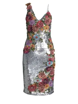 b5f07592c6c Alice And Olivia Francie Sequin Floral Embellished Cocktail Dress In  Metallic