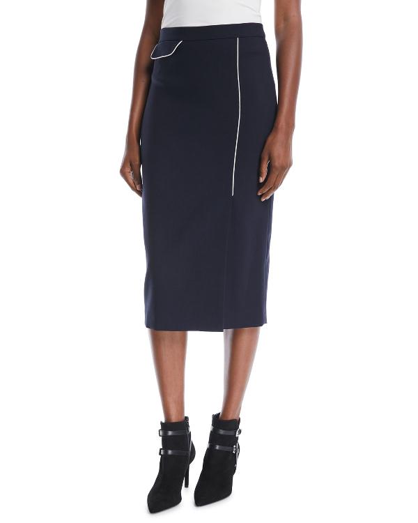 8645c27683 Escada Side-Slit Wool-Blend Midi Pencil Skirt W/ Contrast Piping In Navy