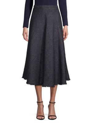 6eda2eb078 Escada A-Line Metallic Tweed Midi Circle Skirt In Black | ModeSens