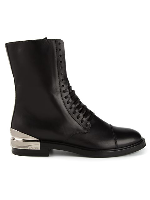 Casadei Lace-Up Boots In Black