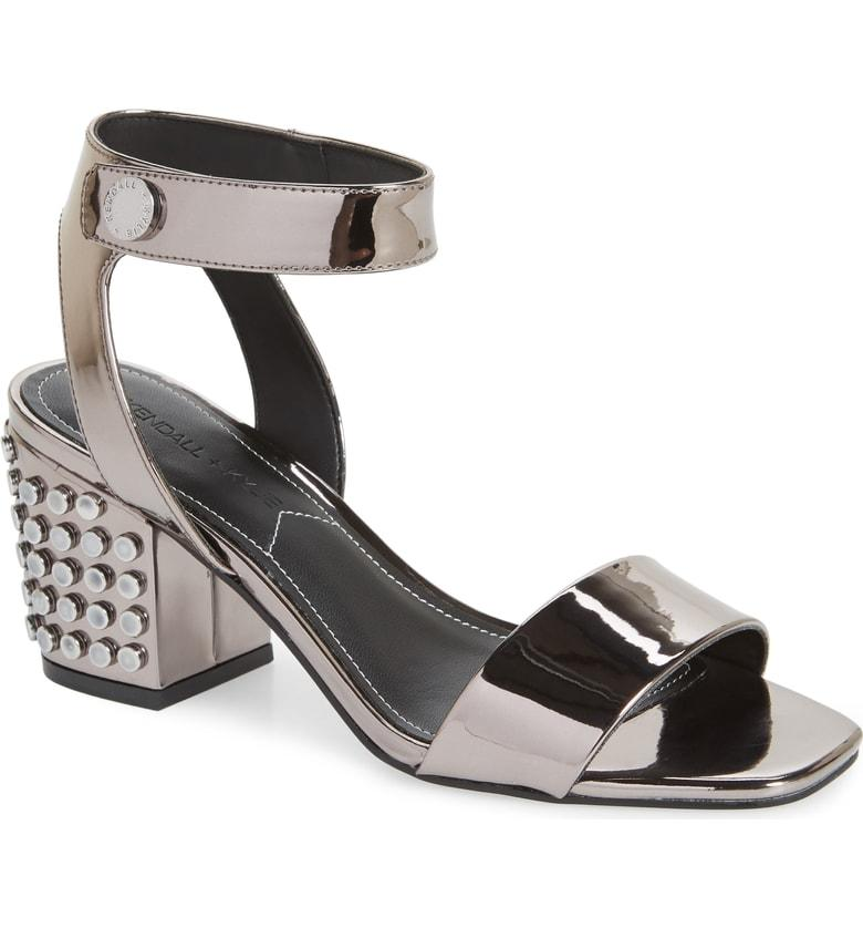 Kendall + Kylie Kendall And Kylie Women's Sophie2 Studded Patent Leather Block Heel Sandals In Pewter