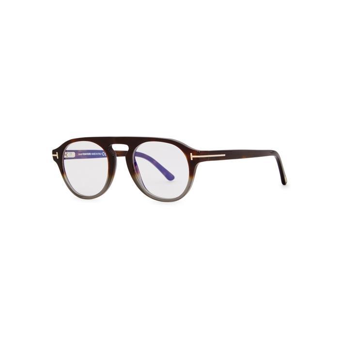 ddcaa80939 Tom Ford Brown DÉGradÉ Oval-Frame Optical Glasses