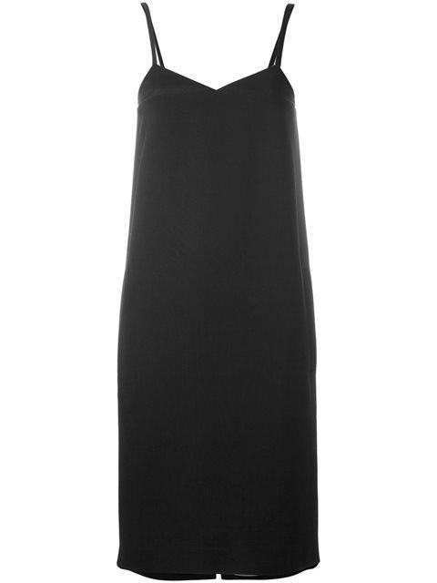 Jil Sander Navy Spaghetti Strap Shift Dress - Black