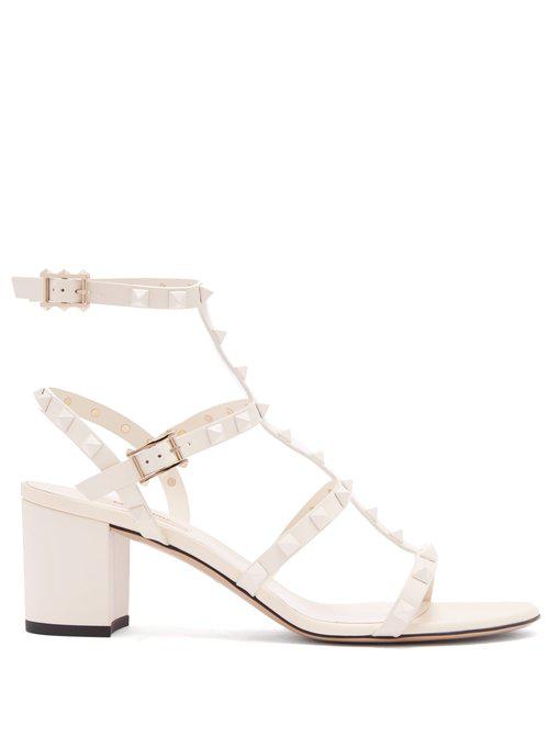 ded78242d6 Valentino Rockstud Block-Heel Leather Sandals In White | ModeSens