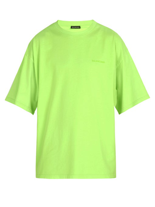 ac8fb1cc8ebd Balenciaga Oversized Ego-Print Cotton-Jersey T-Shirt In Green | ModeSens