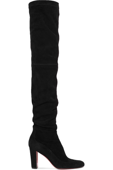 812a880d8c7 Christian Louboutin Kiss Me Gena 80 Suede Thigh Boots In Black ...