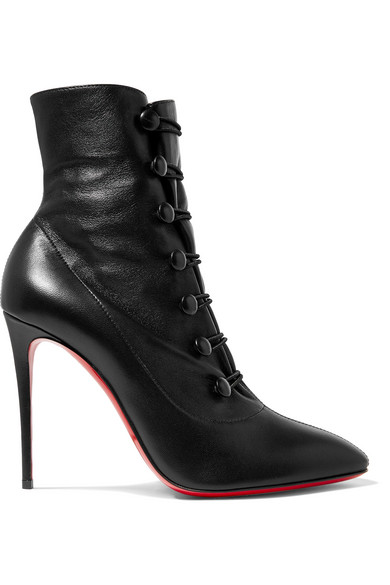 4d8d84f8bb5 Christian Louboutin French Tutu Button-Loop Napa Red Sole Booties In Black