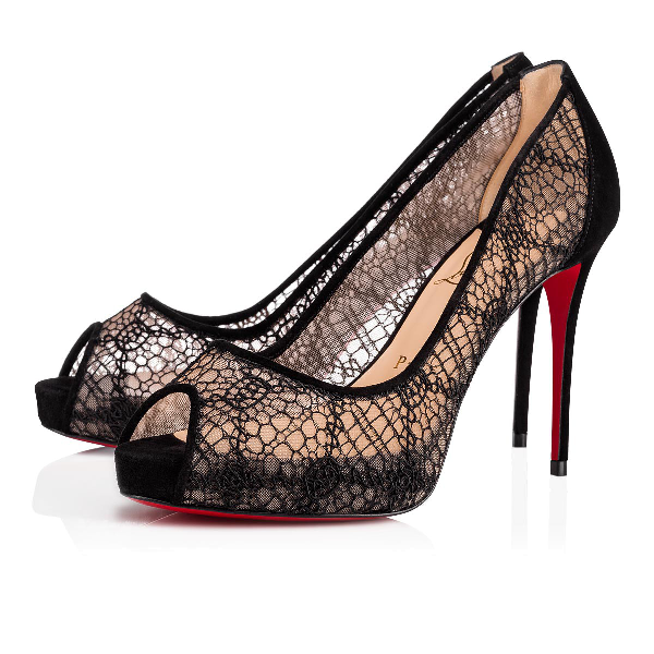 7993fe82731 Very Lace 100Mm Peep-Toe Red Sole Pumps in Version Black