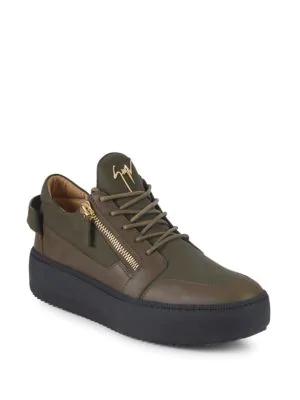 2369da2fab449 Giuseppe Zanotti Logo Leather Platform Sneakers In Military Green ...