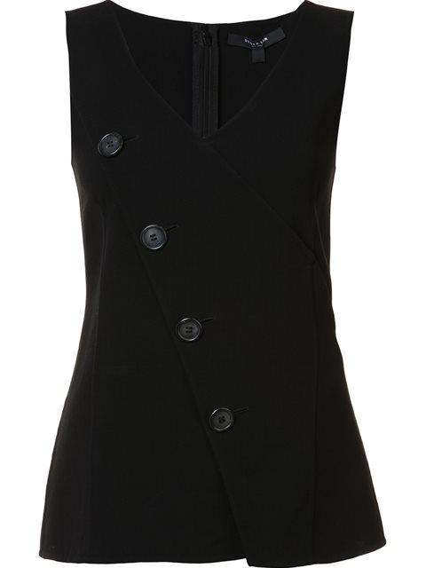 Derek Lam Virgin Wool Top With Buttons In Black