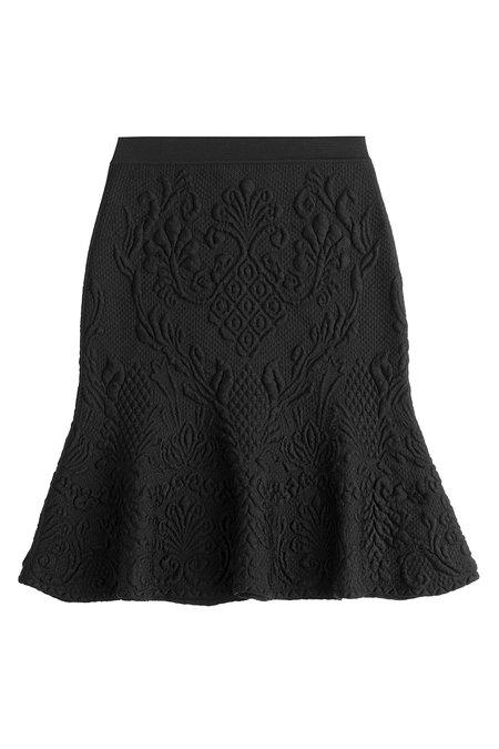 Alexander Mcqueen Fluted Skirt With Wool In Black