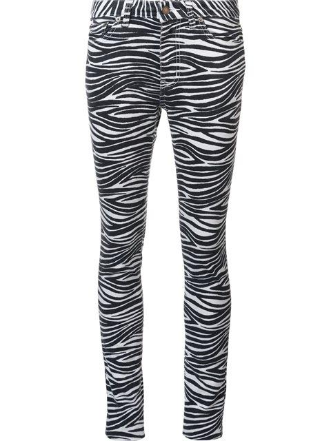 Saint Laurent Zebra Print Skinny Jeans In White