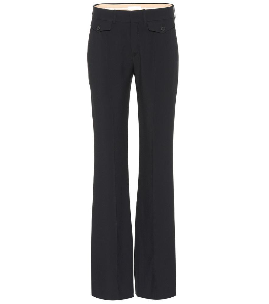 ChloÉ Mid-Rise CrÊPe Bootcut Pants In Black