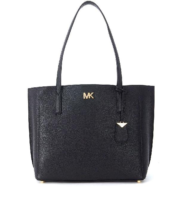 Michael Kors Ana Black Leather Shoulder Bag In Nero