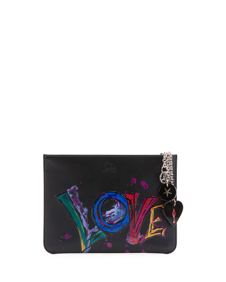 fe93974208e Christian Louboutin Loubicute Calf Paris Love Charms Clutch Bag In Black