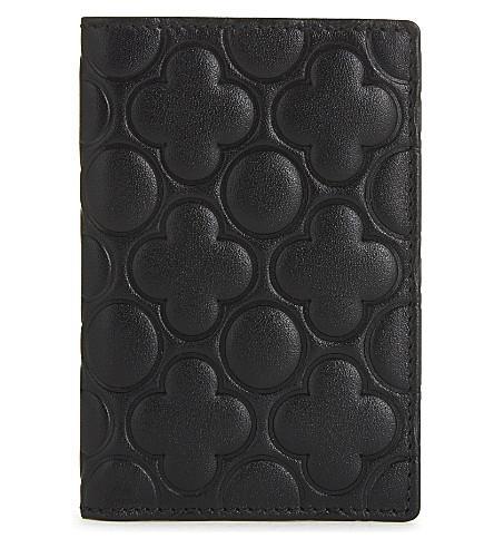 Comme Des GarÇons Clover Embossed Leather Card Holder In Black  Classic Emb