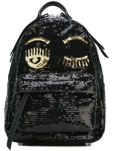 Chiara Ferragni Sequin Embellished Wink Backpack In Black