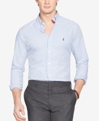 Polo Ralph Lauren Slim-fit Men's Long Sleeve Stretch Poplin Shirt In White Blue