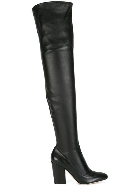 Sergio Rossi Thigh High Boots In 1000 Nero