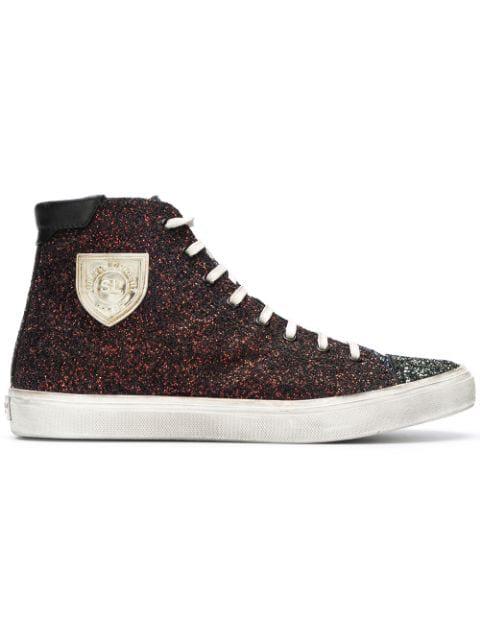 ed70f93dbe9e Saint Laurent Men's Bedford Solid Glitter High-Top Sneakers In Black ...